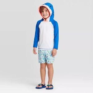 Cat & Jack Shark Long Sleeve Hooded Swim Shirt